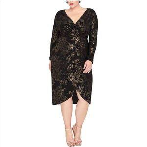 Rachel Roy Floral Foil Print Wrap Dress Black